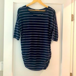 3/4 length striped top with ruched sides